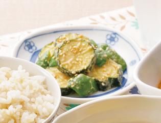 生活提案、レシピ、献立、ズッキーニとピーマンの甘味噌炒め、1425