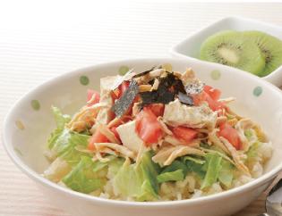 生活提案、レシピ、献立、朝食、ささみと崩し豆腐のサラダ丼、1418