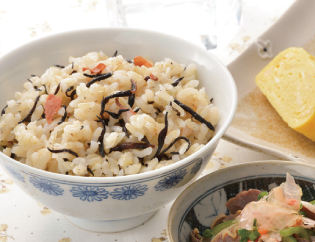 生活提案、レシピ、献立、昼食、ひじきと梅の炊き込みご飯、1418