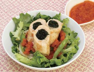 生活提案、レシピ、献立、鶏ササミのわかめロール にんじんソース添え、1424