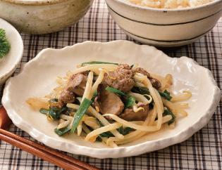 生活提案、レシピ、献立、夕食もやしたっぷりレバニラ炒め、1418