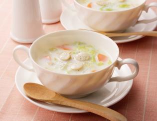 生活提案、レシピ、献立、すりおろしじゃが芋と白菜のミルクスープ、1450