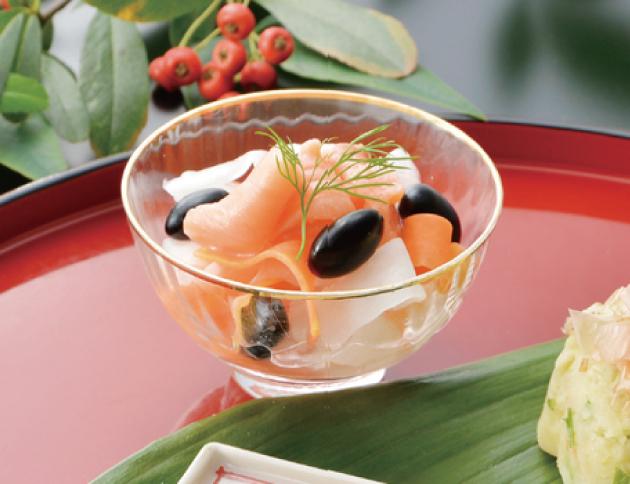 生活提案、レシピ、献立、黒豆とスモークサーモンの鮮やかマリネ、1343