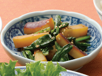 生活提案、レシピ、献立、小松菜とさつま芋のぴり辛炒め、1347