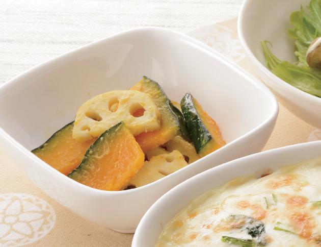 生活提案、レシピ、献立、かぼちゃと蓮根のはちみつ味噌ソテー、1349