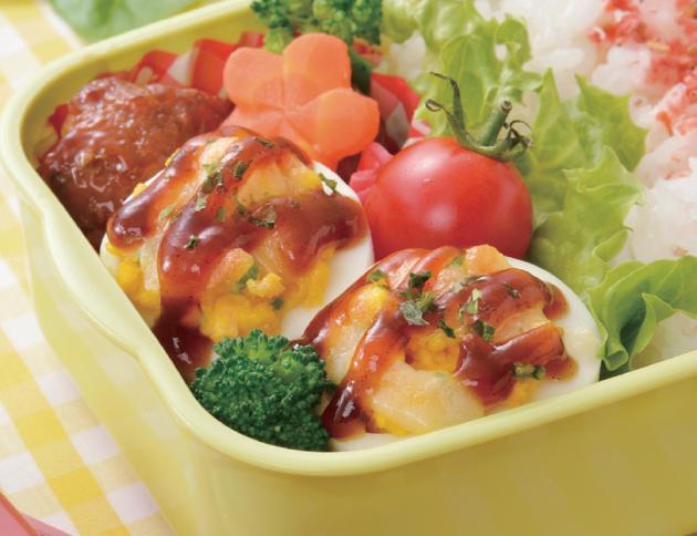 生活提案、レシピ、献立、お好み焼き風チーズ焼きたまご、茹で卵、弁当