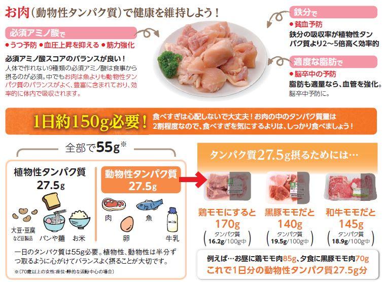 お肉は1日約500g必要!