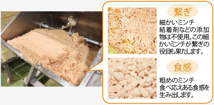 使用するムネ肉のミンチは、2種類のサイズを使用!
