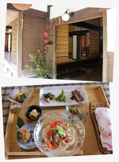 目にも楽しい料理の数々。この後も、桜塩でいただく天麩羅、梅のジュレなど…パンドラファームの味を堪能!