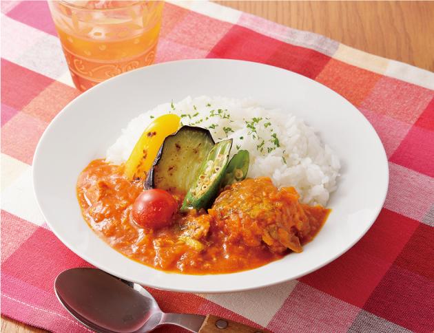 生活提案、レシピ、献立、トマト風味のさば缶カレー、野菜ジュース、カレー、さば缶、1726