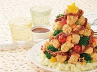 生活提案、レシピ、献立、チキンのクリスマスツリー(BBQソース)、1742、秋川牧園